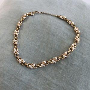 Gold Pearl and Crystal Costume Choker
